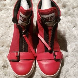 Marc by Marc Jacobs red zip up buckle sneakers